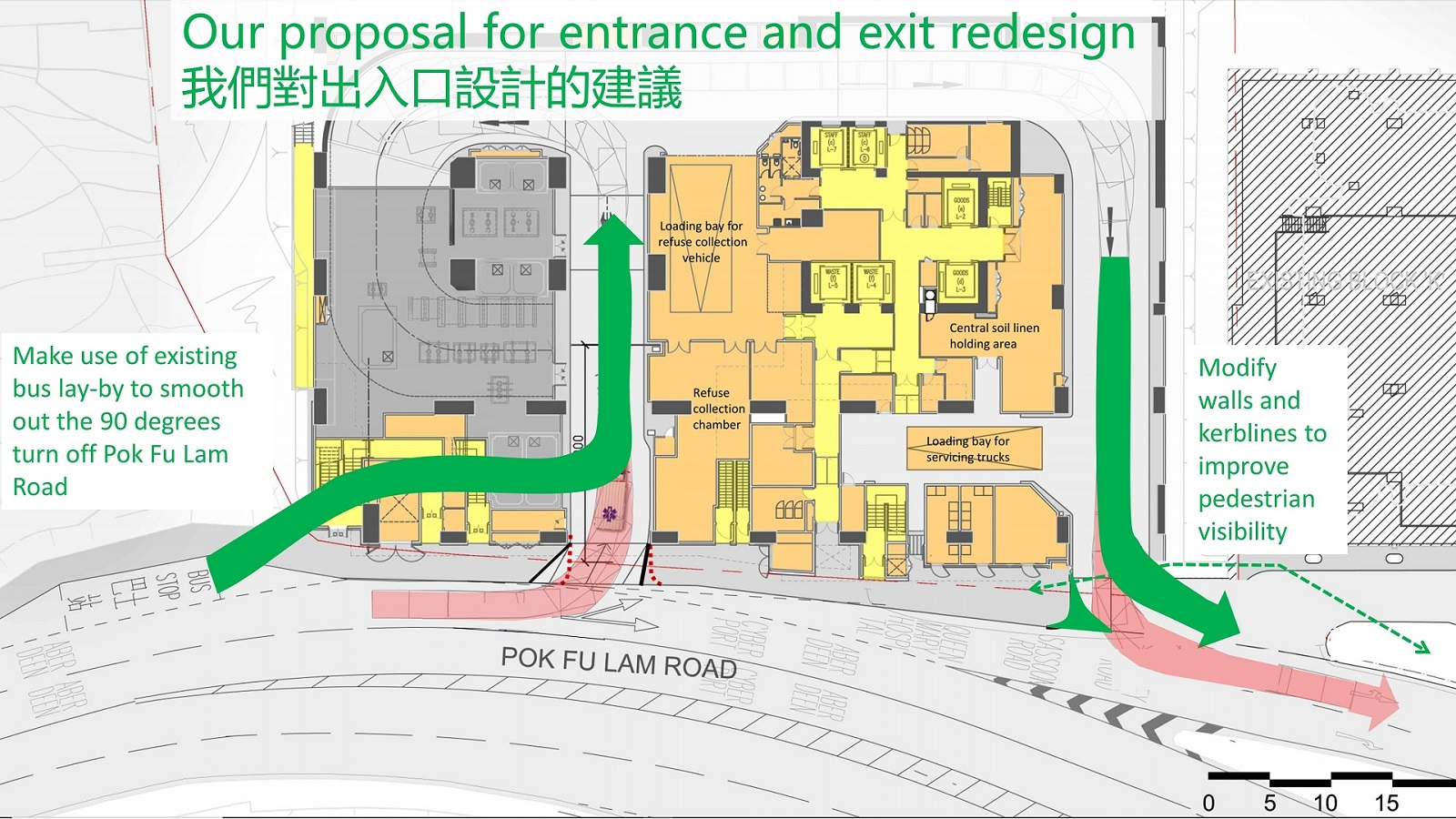 Our proposal for entrance and exit redesign