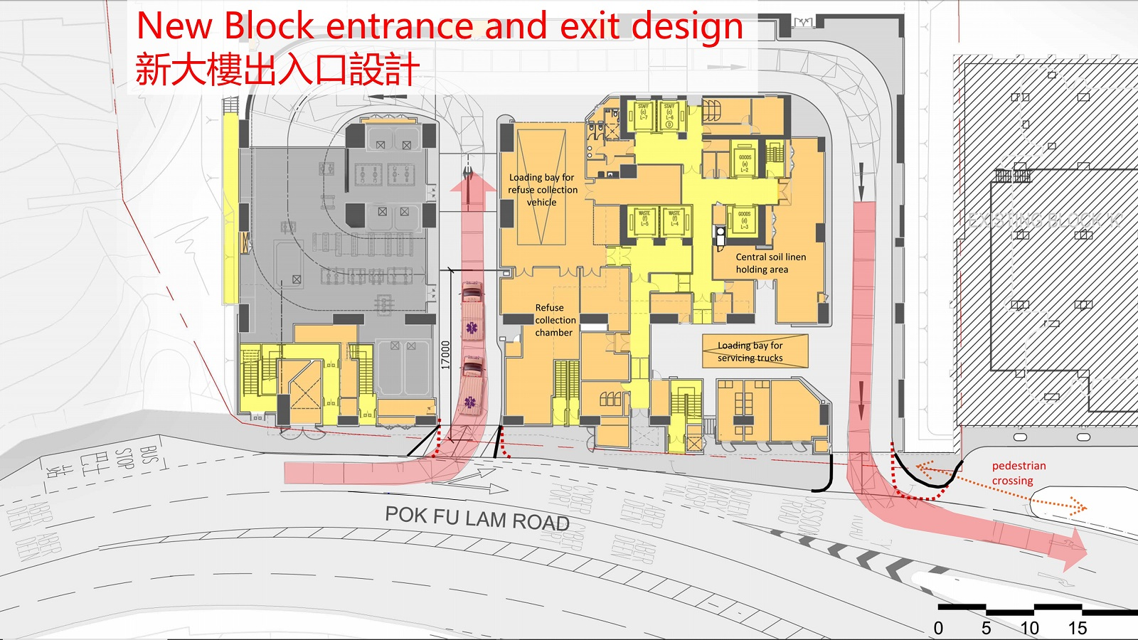 New Block entrance and exit design